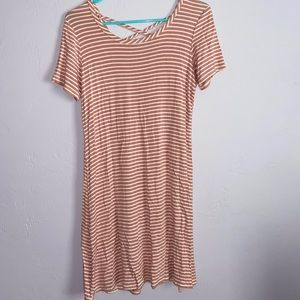 Pink and white striped tshirt dress